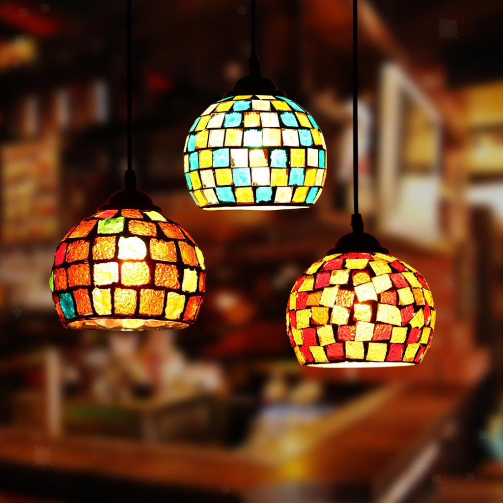Mosaic-Style-Hanging-Light-Ceiling-Pendant-Lamp-Retro-Lampshade-Cafe-Restaurant thumbnail 19