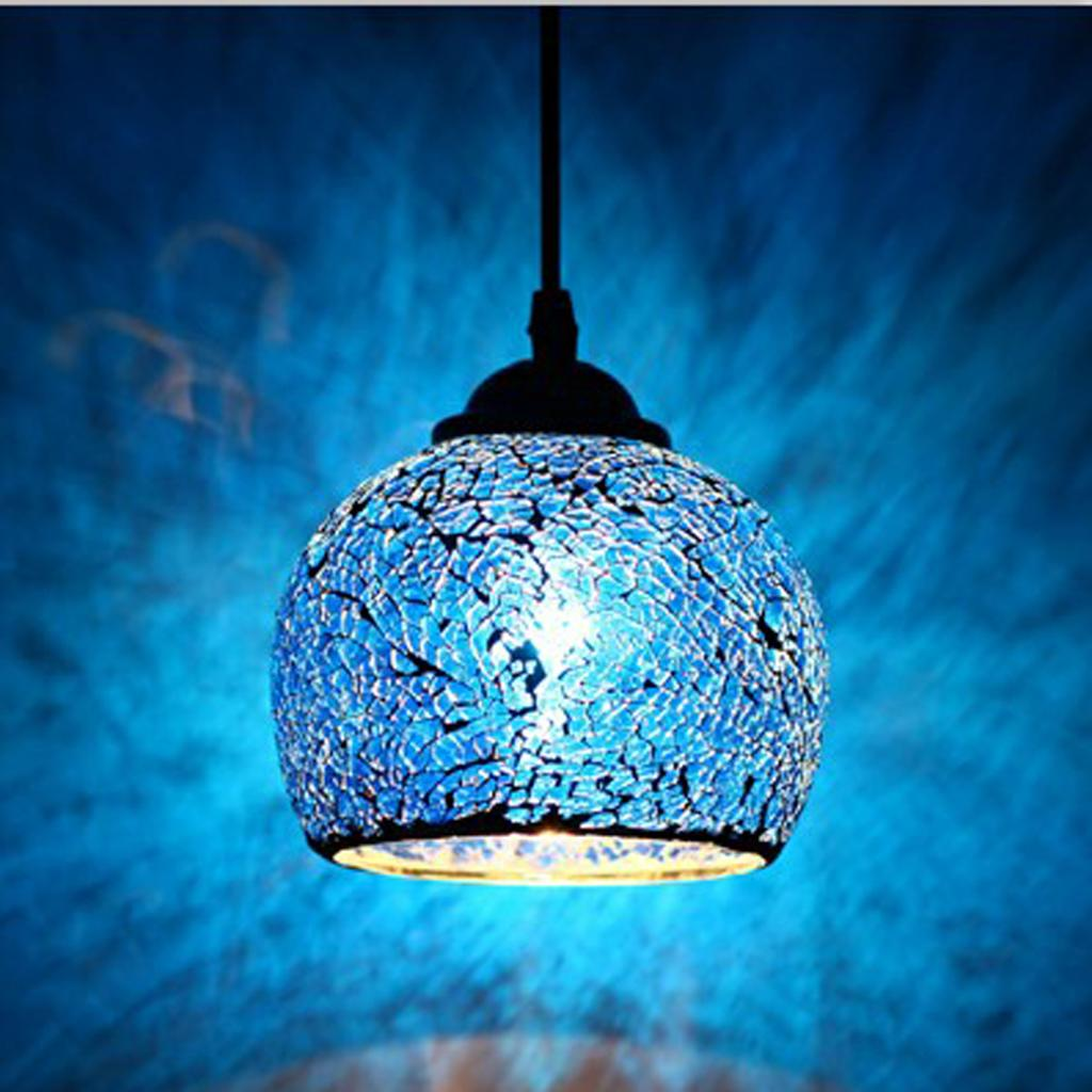 Retro Mosaic Chandelier Glass Lamp Shade Hanging Light for Bar Cafe Art Gallery
