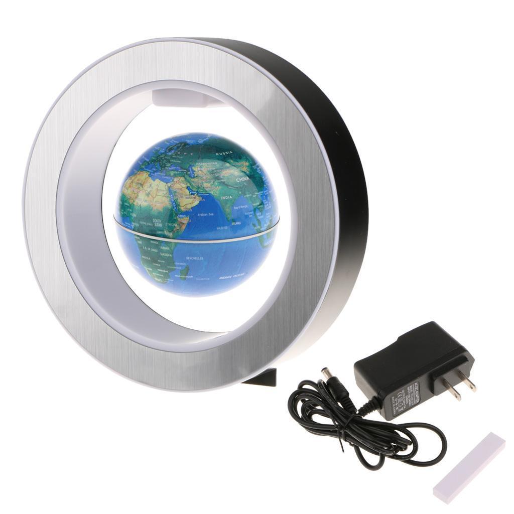 4'' Circular Frame Magnetic Floating Globe World Map LED Lights US