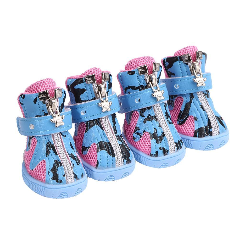 4d0da812f25 Details about PACK 4 Dog Puppy Booties Paw Protector Socks Anti-skid Summer  Shoes 2 Colors SML