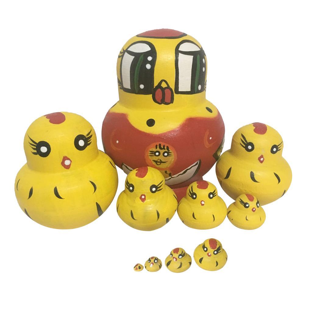 Yellow Chicks Russian Nesting Doll Babushka Matryoshka Stacking Dolls Set 10 Pieces Xmas Gift Christmas Decorations