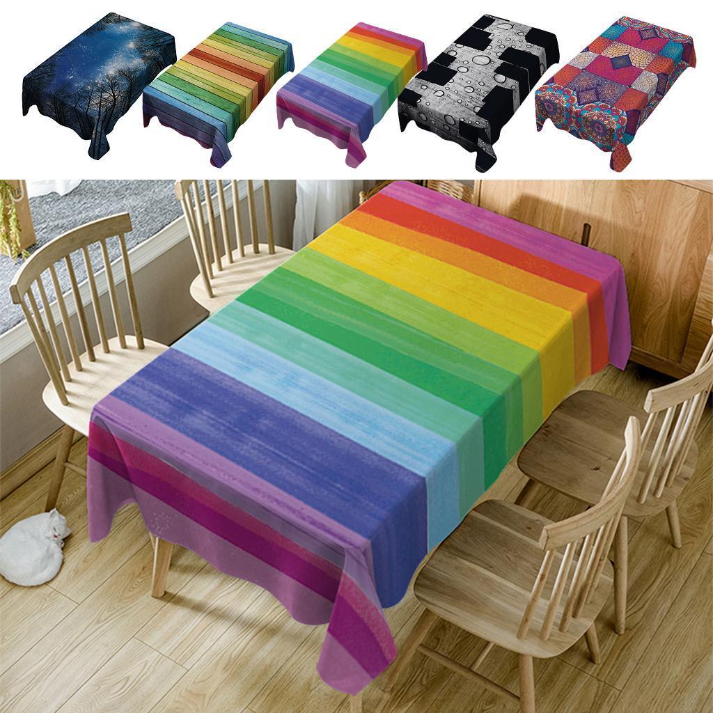 Rectangulaire-Nappe-de-Table-Couverture-Impermeable-Embellissement-de-Table miniature 3