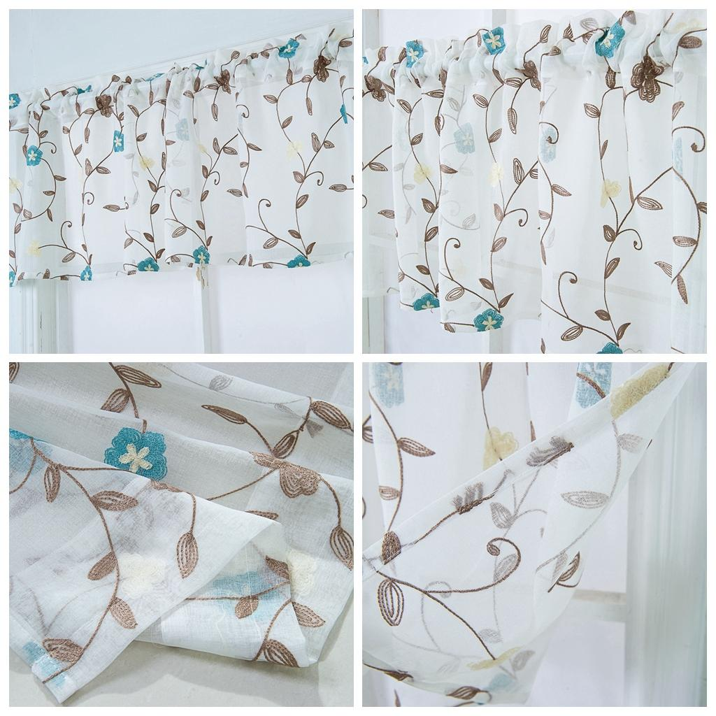 Details About Embroidered Home Kitchen Sheer Cafe Curtain Kitchen Cabinet Short Curtain