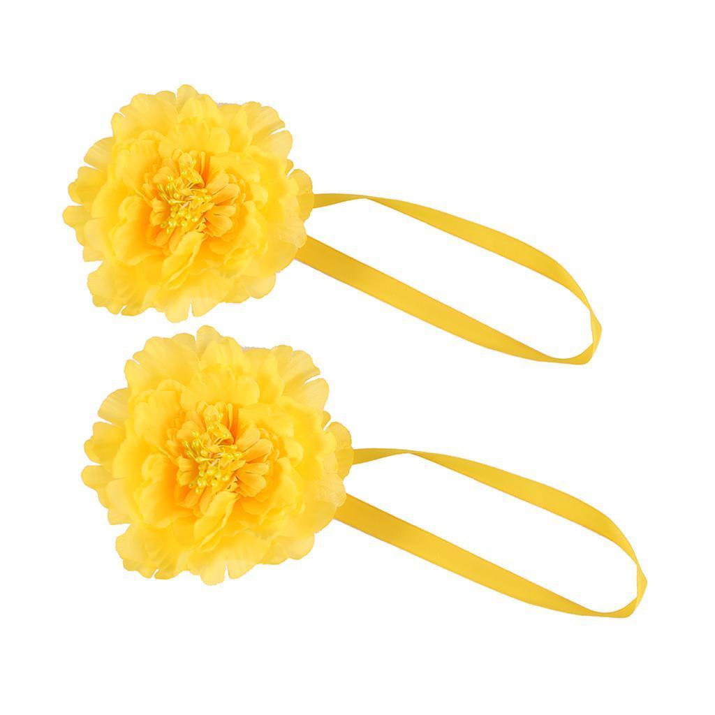 2xMagnetic Sheer Curtain Flower Tie Backs Drape Tieback Holdback Holder Hook