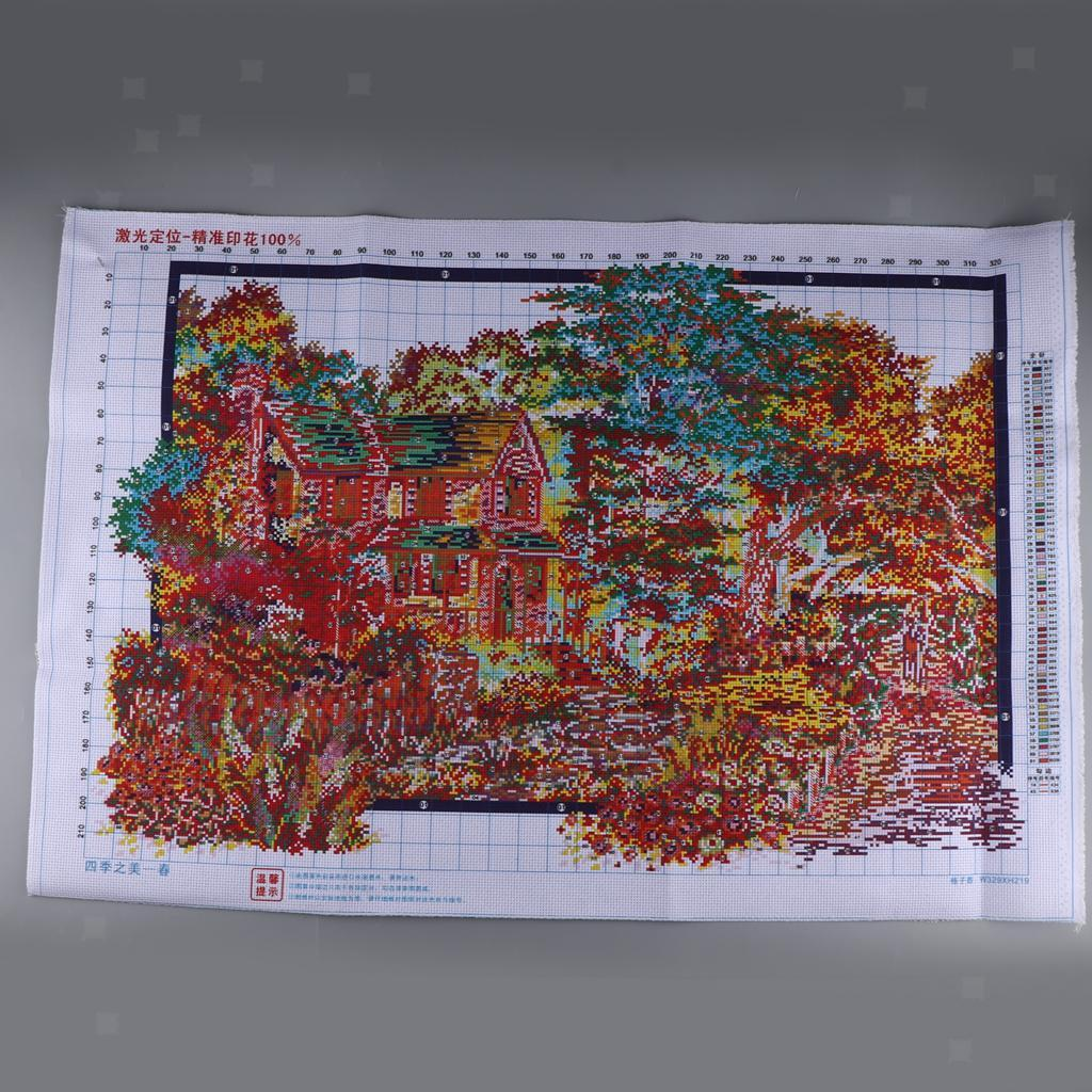 Stamped-amp-Counted-Cross-Stitch-Kit-Embroidery-Crafts-Needlecraft-Seasons thumbnail 10