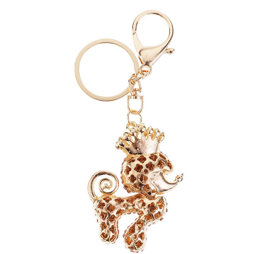 Lovely-Poodle-Dog-Crystal-Keychains-Keyring-for-Car-Women-Bag-Key-Chain-Ring thumbnail 3