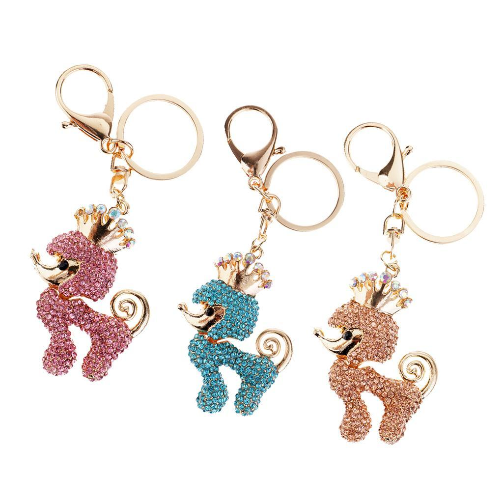 Lovely-Poodle-Dog-Crystal-Keychains-Keyring-for-Car-Women-Bag-Key-Chain-Ring thumbnail 4