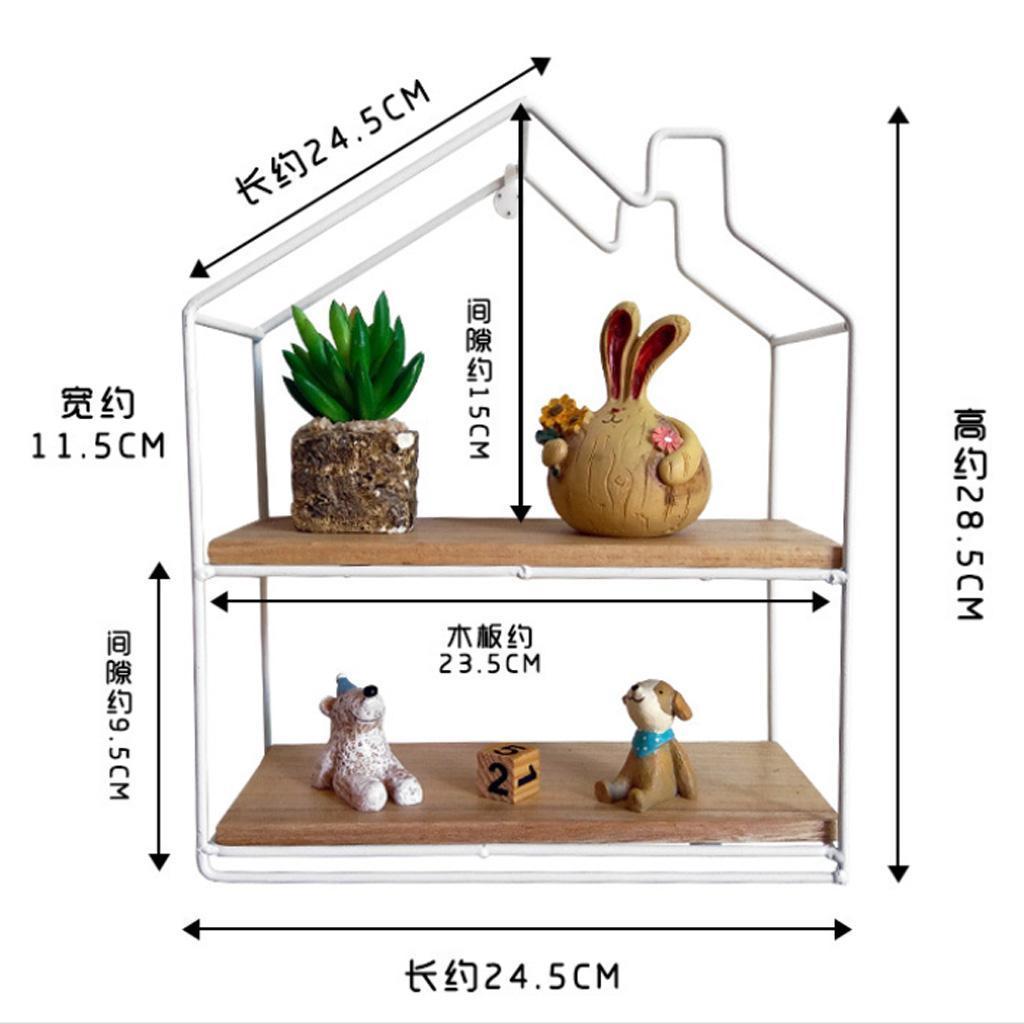 House-Shaped-Iron-Wooden-Wall-Shelf-Display-Rack-Shelf-Storage-Unit-Decor thumbnail 3