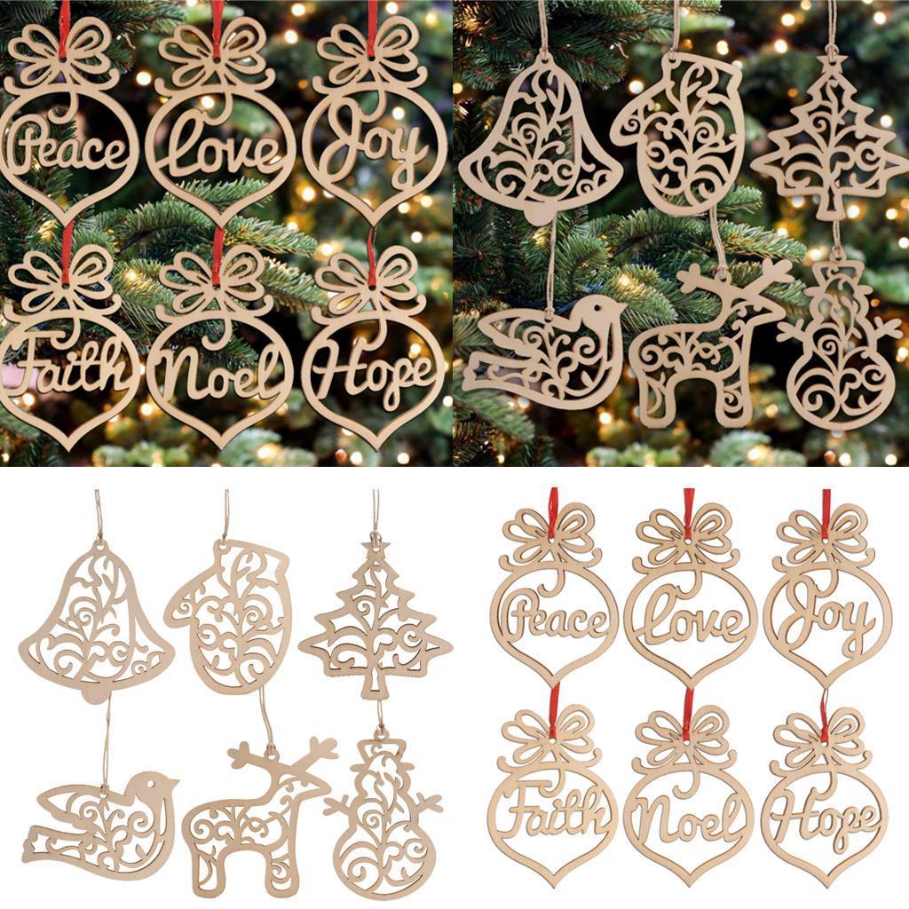 miniatura 6 - 6 pezzi di Natale appeso decorazione albero di Natale in legno cavo