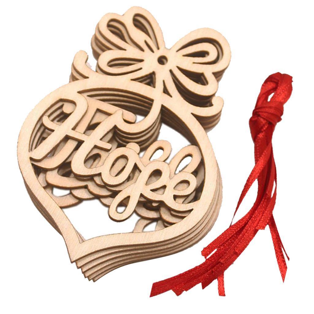 miniatura 3 - 6 pezzi di Natale appeso decorazione albero di Natale in legno cavo
