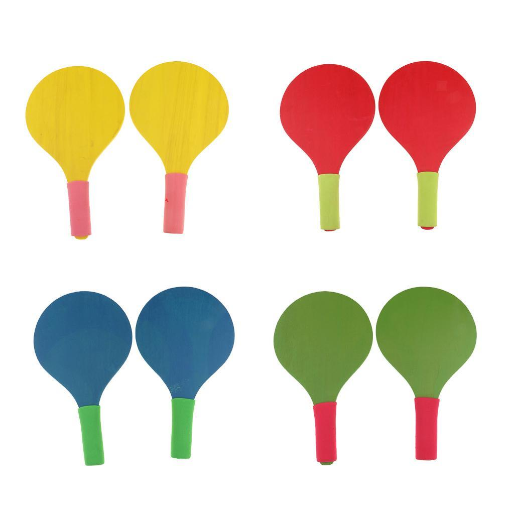 Wooden-Beach-Paddle-Ball-2-Paddles-Racket-Game-Table-Tennis-Badminton-Game thumbnail 3