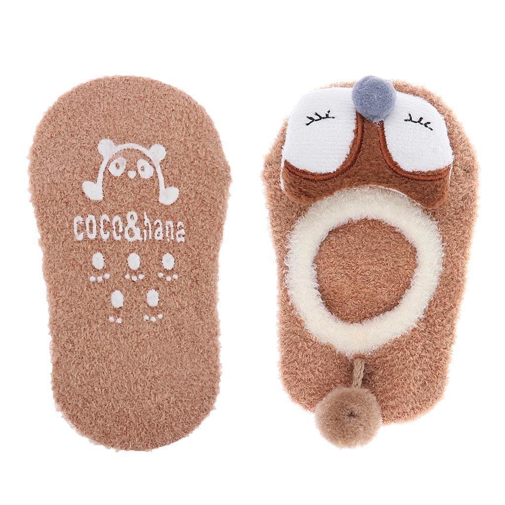 Chaussons-Bebe-Chaussettes-Bateaux-Antiderapant-Cartoon-Chaud-Pompon-Coton-Doux miniature 11
