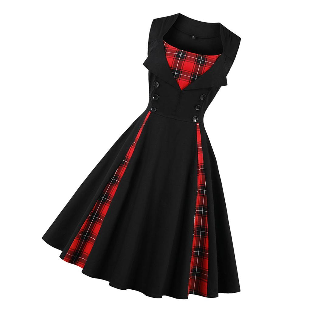 thumbnail 4 - Women Retro 1940s 50s Plaid Rockabilly Cocktail Prom Swing Skaters Tea Dress