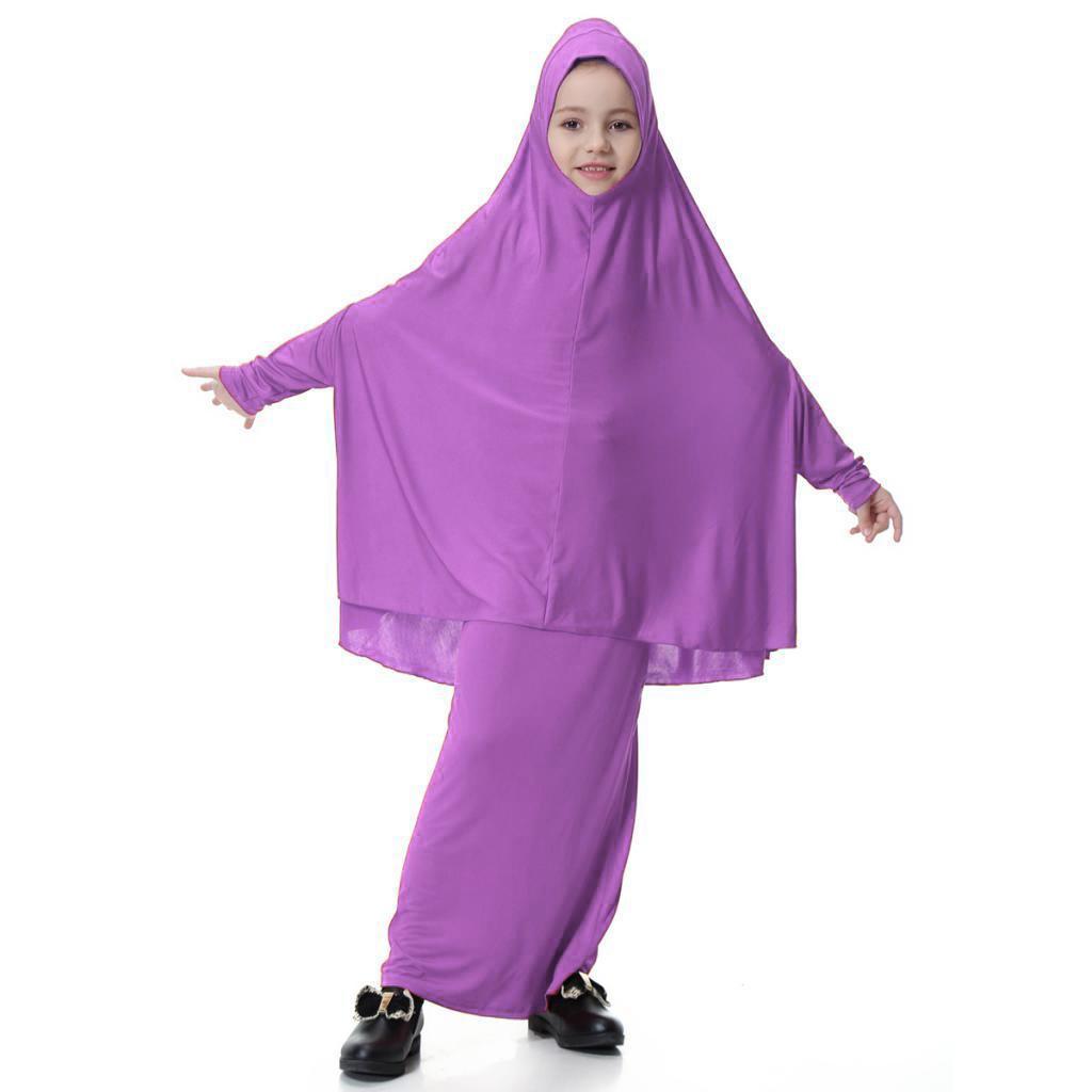 Fille-Robes-Musulmane-Islamique-a-Manches-Longues-Deux-Pieces-Priere-Robe miniature 7