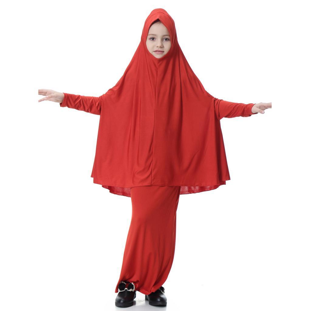 Fille-Robes-Musulmane-Islamique-a-Manches-Longues-Deux-Pieces-Priere-Robe miniature 21