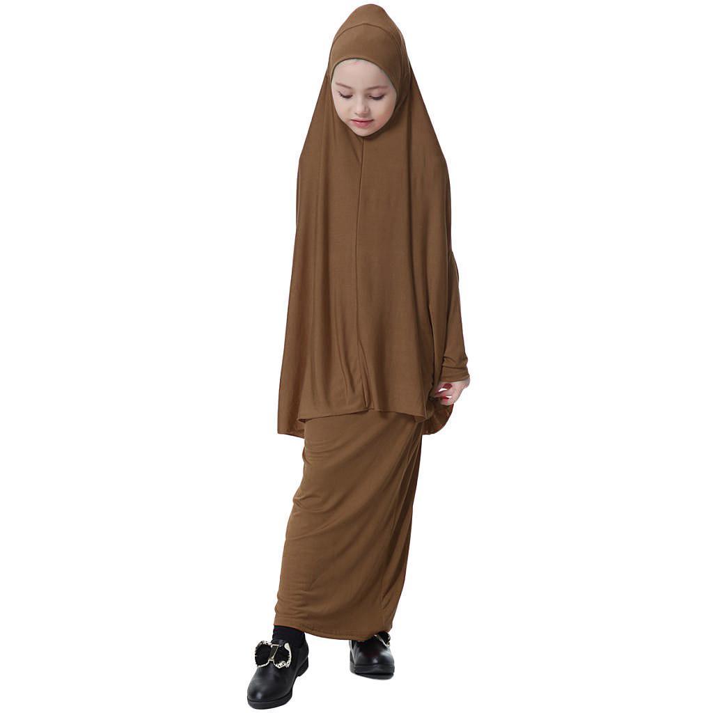 Fille-Robes-Musulmane-Islamique-a-Manches-Longues-Deux-Pieces-Priere-Robe miniature 37