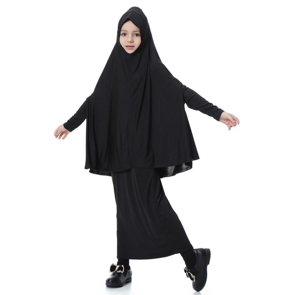 Fille-Robes-Musulmane-Islamique-a-Manches-Longues-Deux-Pieces-Priere-Robe miniature 52