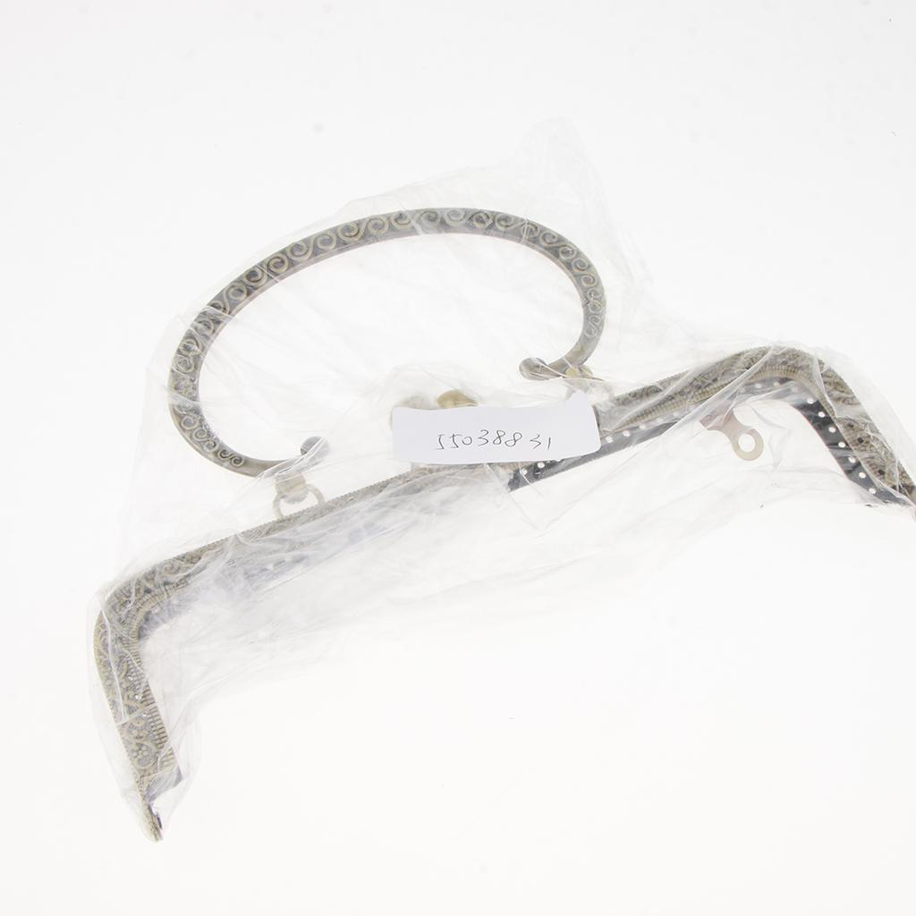 Sew In Coin Bag Purse Metal Frame Handbag Clasp Fastening 20.5cm C-shaped