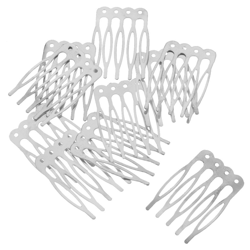 Lot 10pcs 5//10 Teeth Metal Blank DIY Silver Gold Bronze Hair Comb Clip Craft