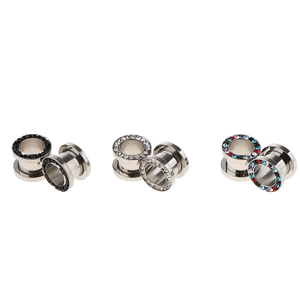 3-coppie-di-tappi-per-orecchie-in-acciaio-inox-Vite-per-tunnel-Tappi-per miniatura 11