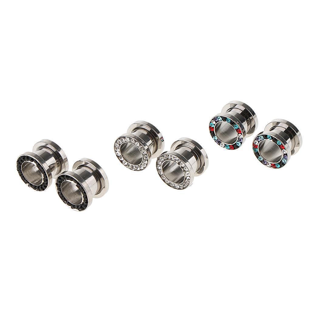 3-coppie-di-tappi-per-orecchie-in-acciaio-inox-Vite-per-tunnel-Tappi-per miniatura 9