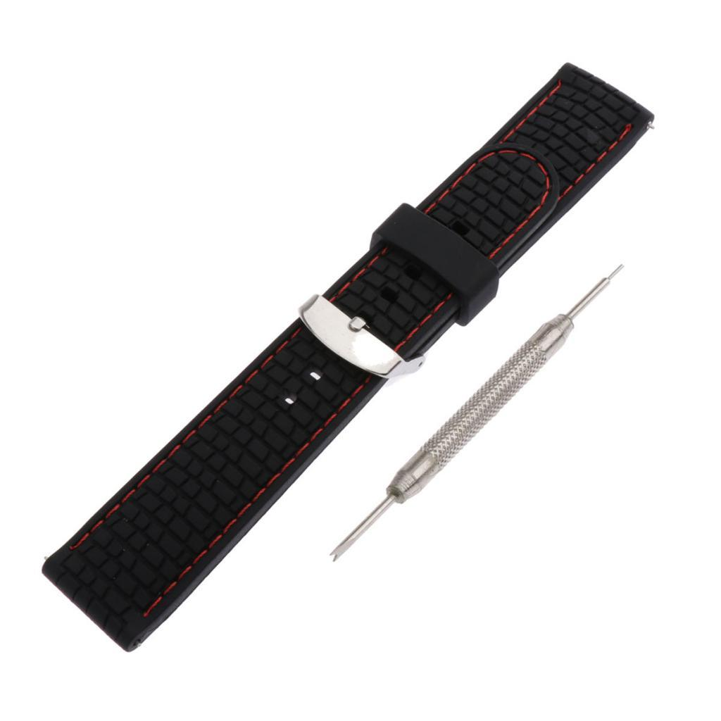 Waterproof-Silicone-Watch-Band-Strap-with-Stainless-Steel-Pin-Buckle-22mm thumbnail 4