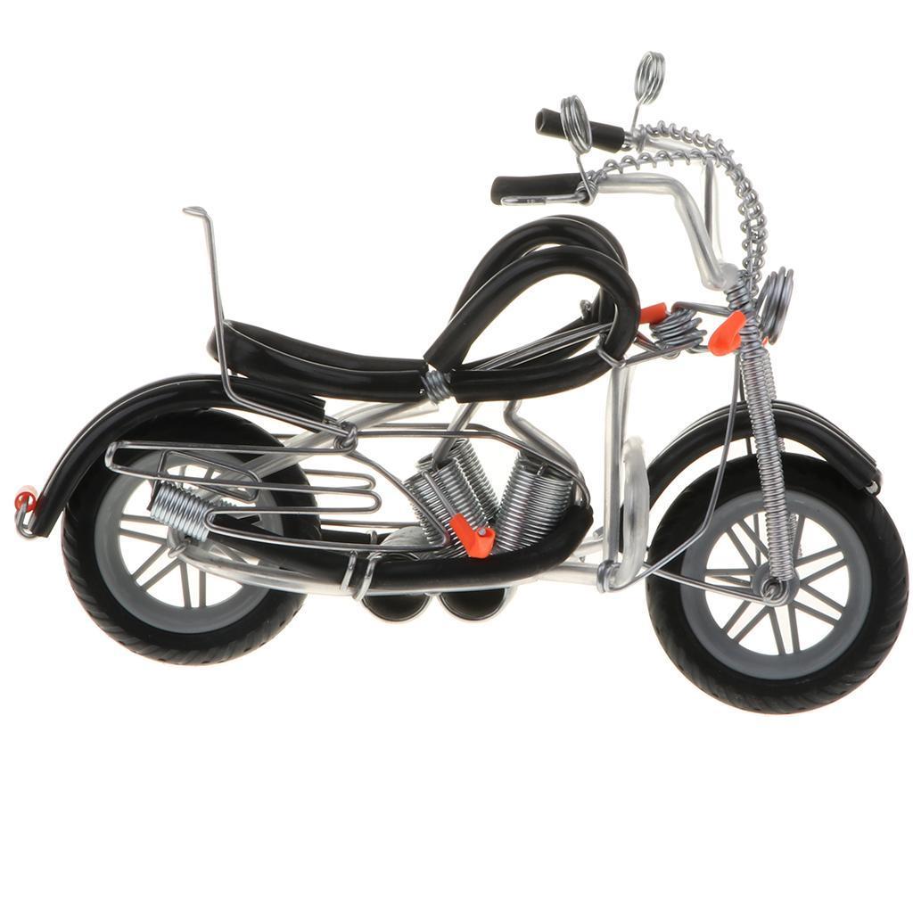 Modello-Di-Motocicletta-In-Metallo-Realistico-In-Ufficio-Vintage-Home-Decor miniatura 11