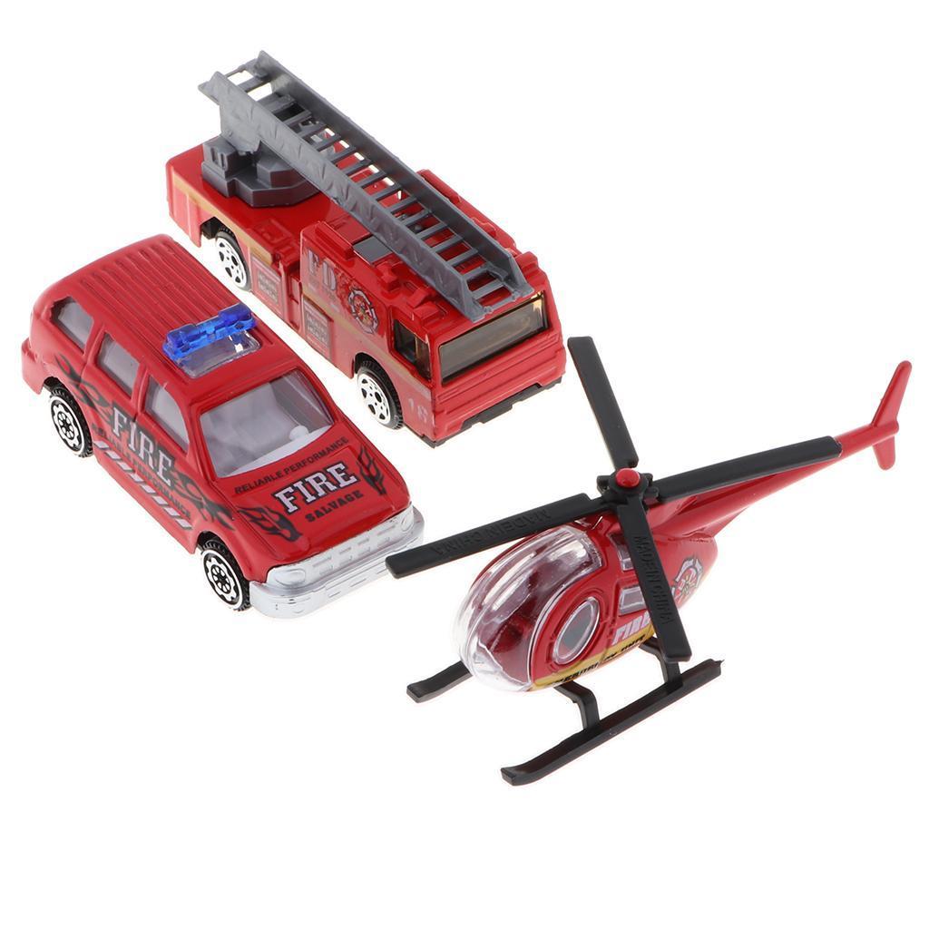 3pcs 1//64 mini Rescue emergencia auto modelo coche de bomberos juguete rojo