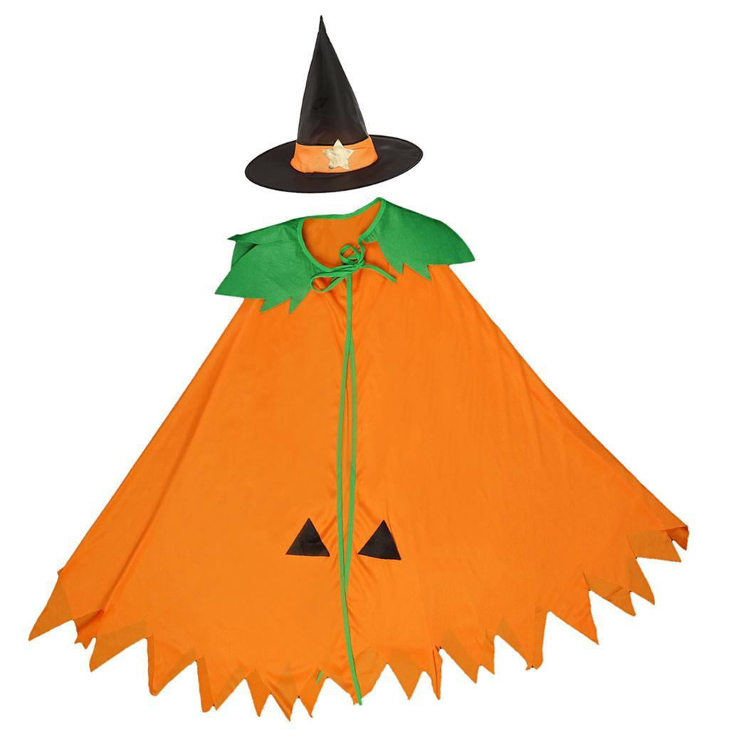 Halloween-Pumpkin-Cloak-Cape-Cosplay-Costume-Home-Party-Role-Play-Fancy-Dress thumbnail 4