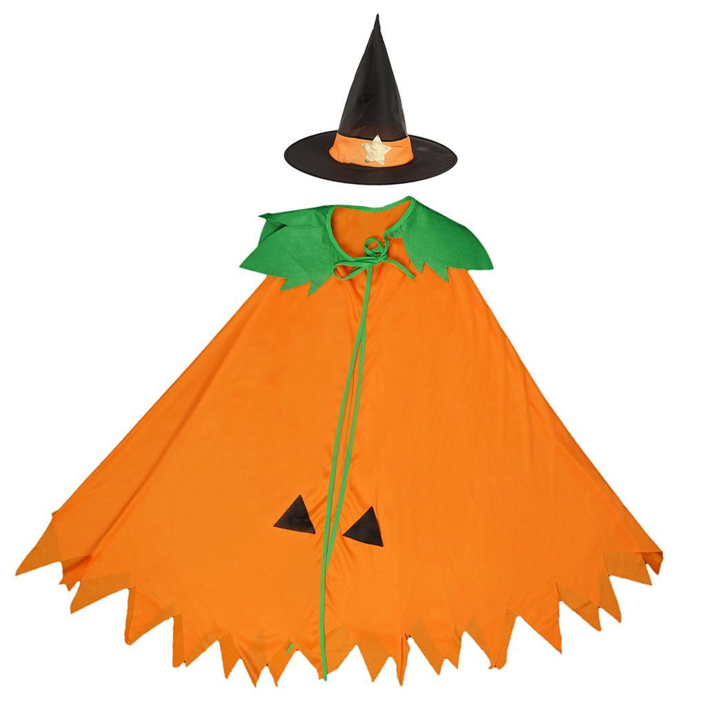 Halloween-Pumpkin-Cloak-Cape-Cosplay-Costume-Home-Party-Role-Play-Fancy-Dress thumbnail 5