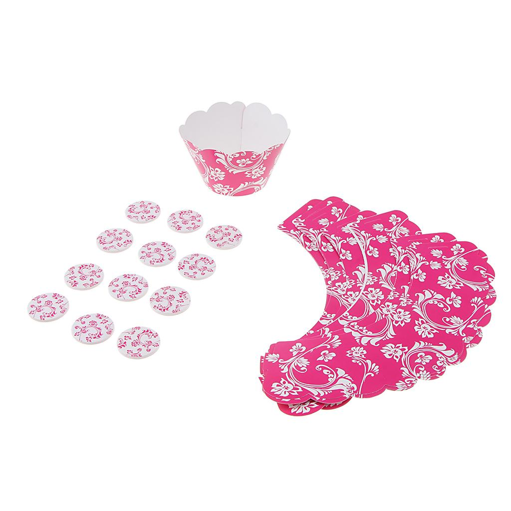 Pack of 24 Fashion Rose Red Vine Cupcake Decor Set Cake Topper Wrapper Wedding Birthday Party Decoration