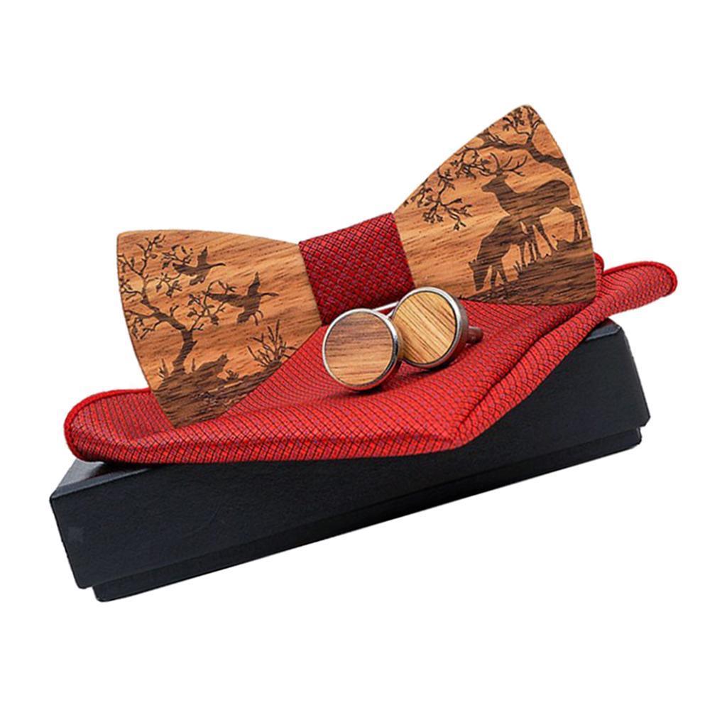Men-Wooden-Bow-Tie-Set-Patterned-Wood-Bowtie-Handkerchief-Cufflinks-Sets thumbnail 10