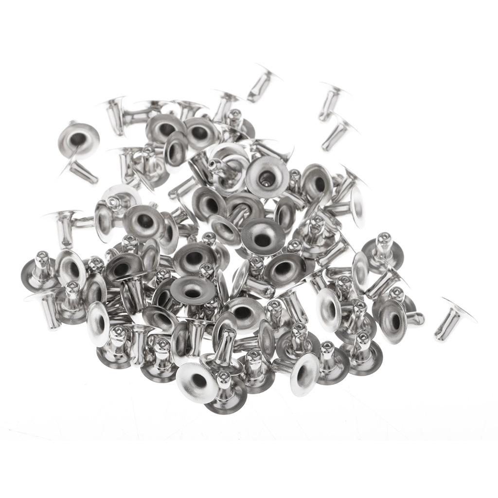 50 Sets Round Rivets Rapid Studs 4mm Silver for Leather Crafts Supplies