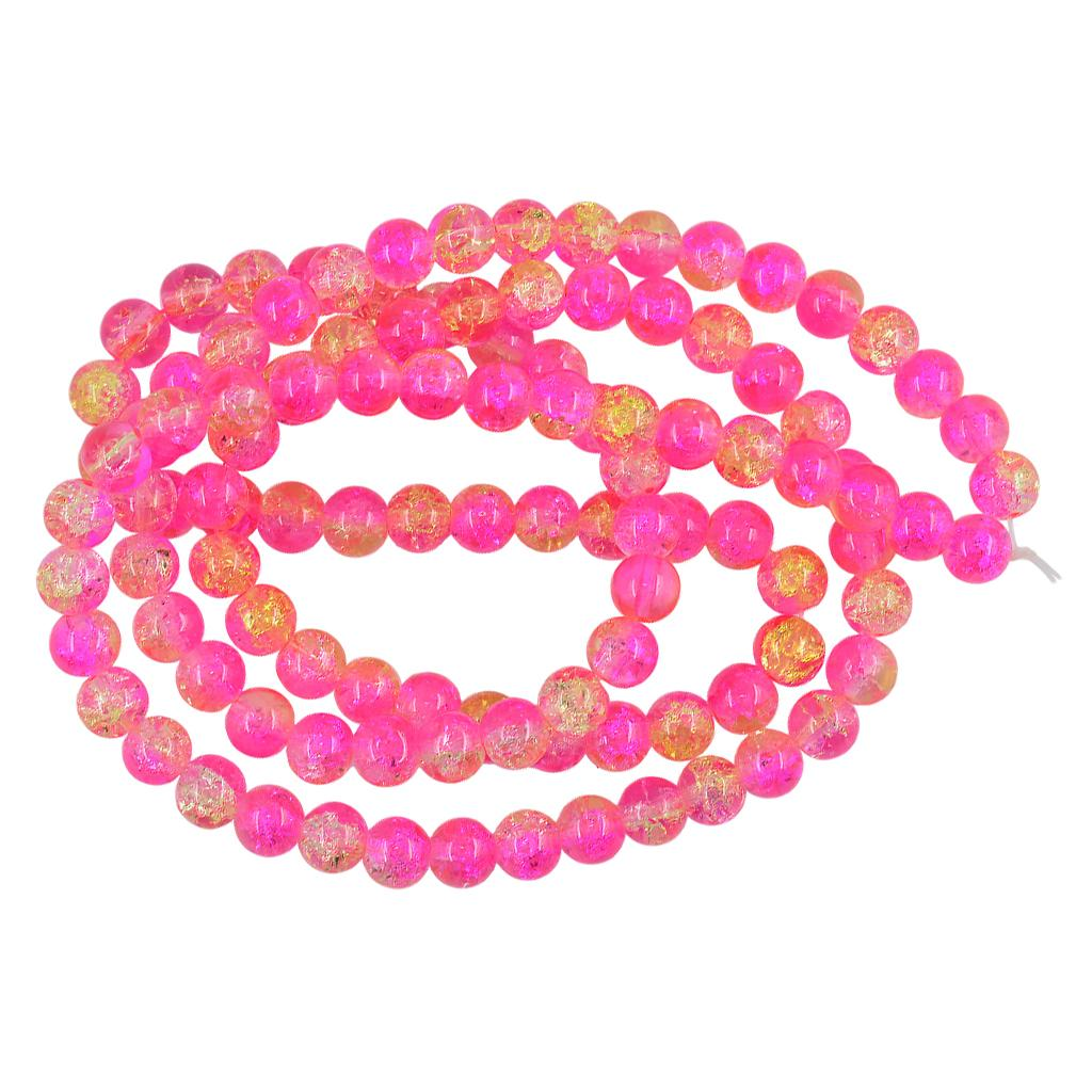 Lot Glass Round Crackle Crystal Charms Beads Strand Jewelry Making Craft 8mm