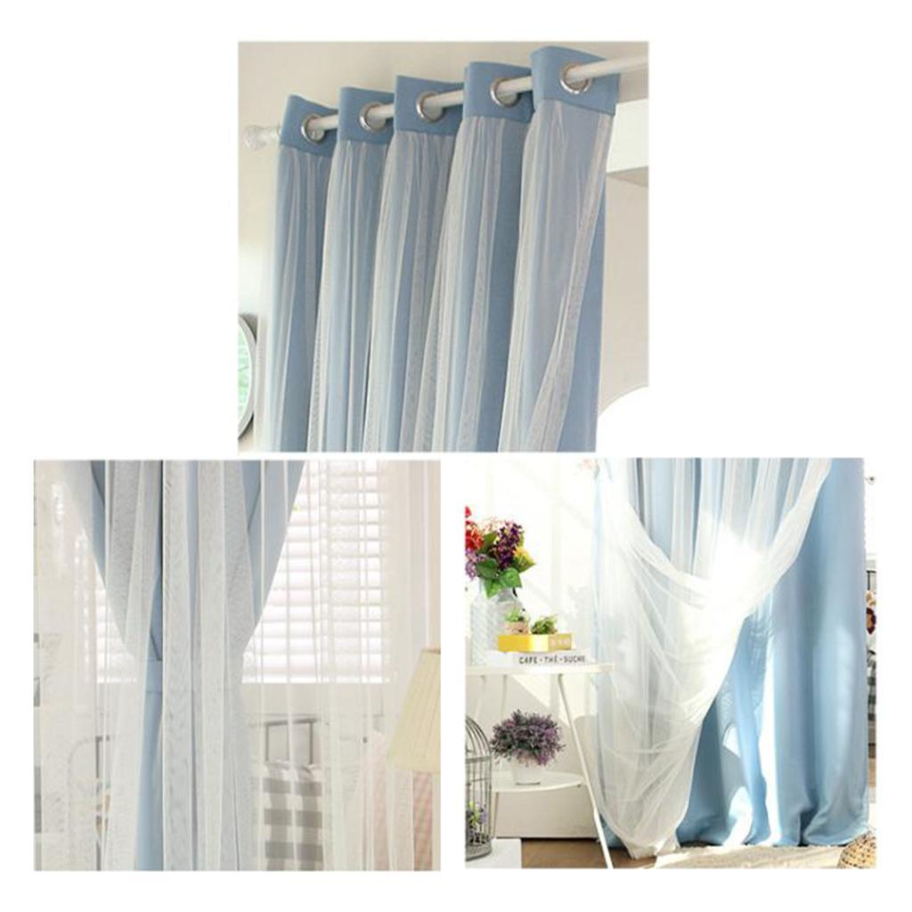 Romantic Double Layer Lace Sheer Curtains Blackout Window