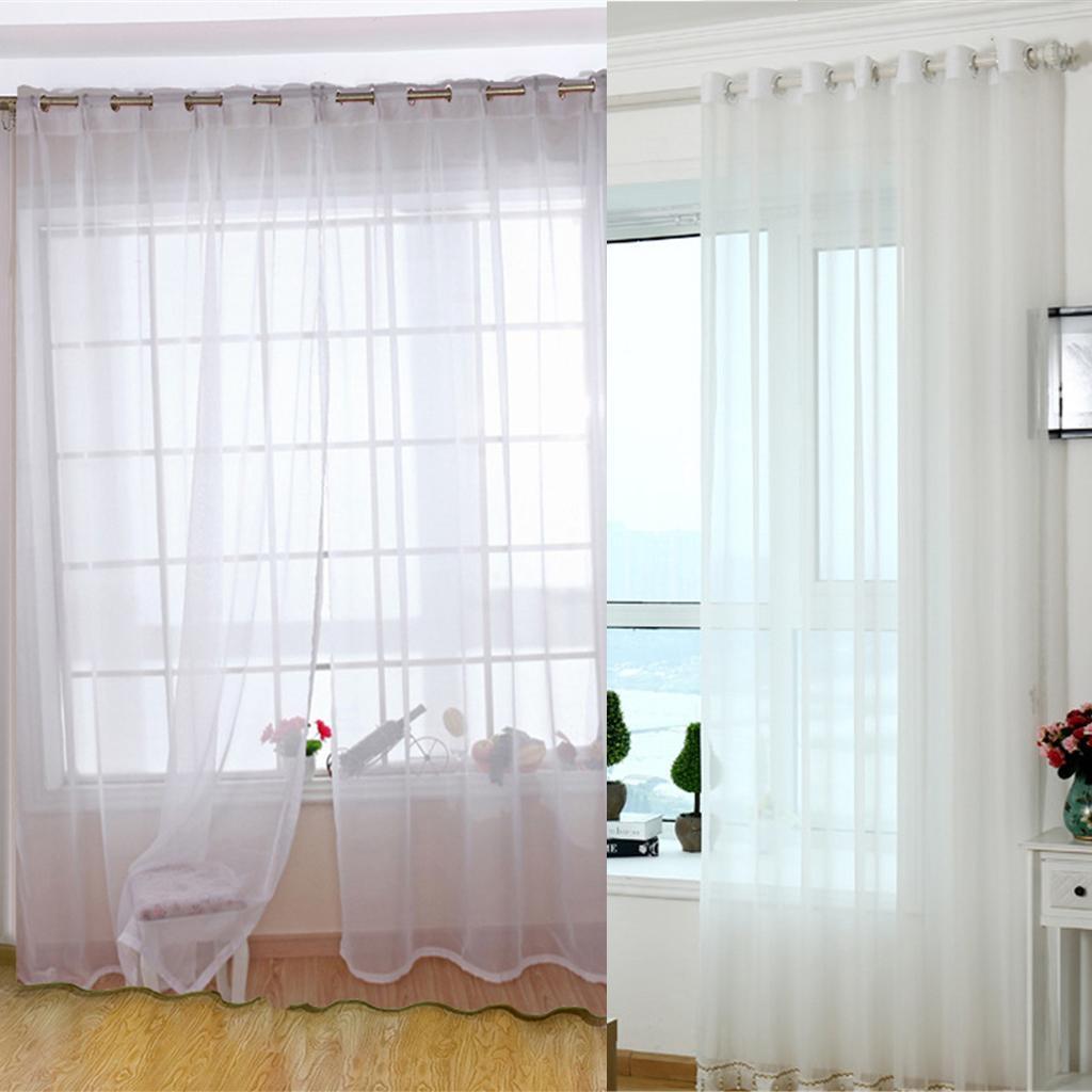 Rideau Pour Porte Fenetre détails sur voilage rideau à œillets blanc en gaze décoration pour porte  fenêtre