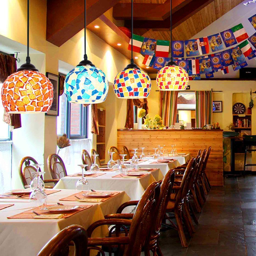 Mosaic-Style-Hanging-Light-Ceiling-Pendant-Lamp-Retro-Lampshade-Cafe-Restaurant thumbnail 25