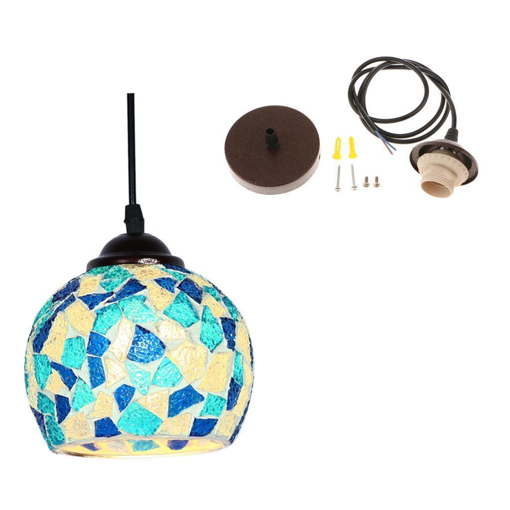 Mosaic-Style-Hanging-Light-Ceiling-Pendant-Lamp-Retro-Lampshade-Cafe-Restaurant thumbnail 26
