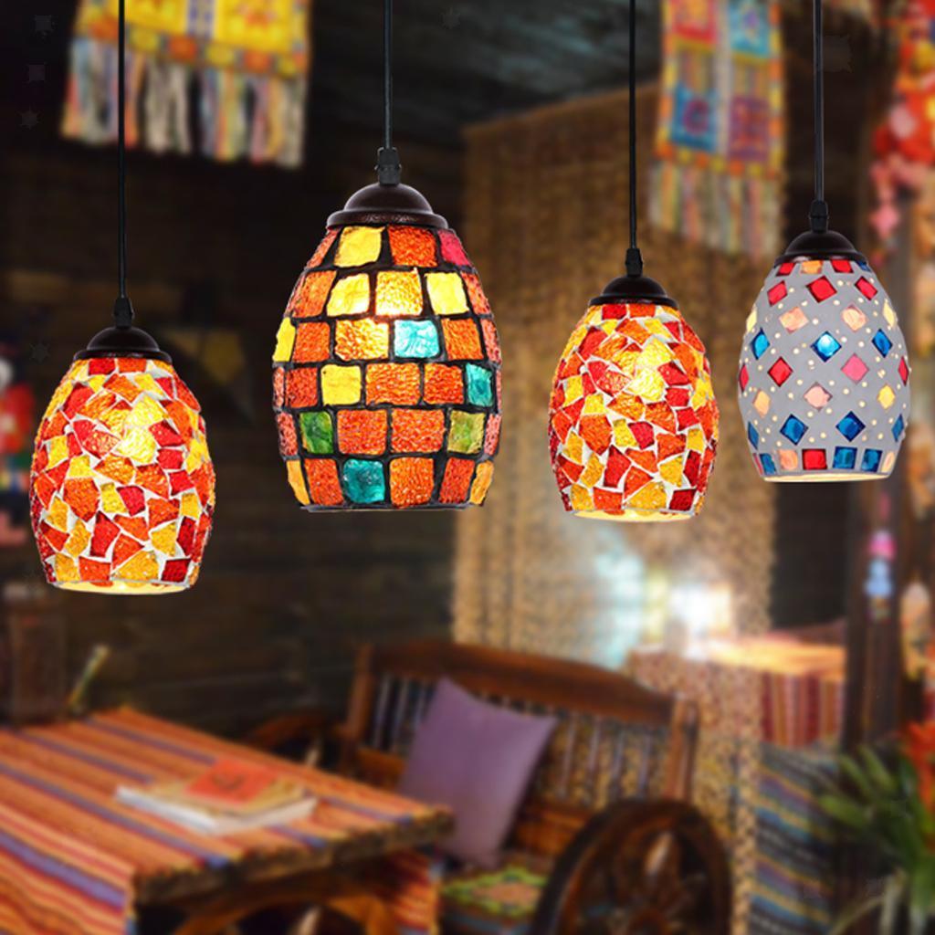 Mosaic-Style-Hanging-Light-Ceiling-Pendant-Lamp-Retro-Lampshade-Cafe-Restaurant thumbnail 70
