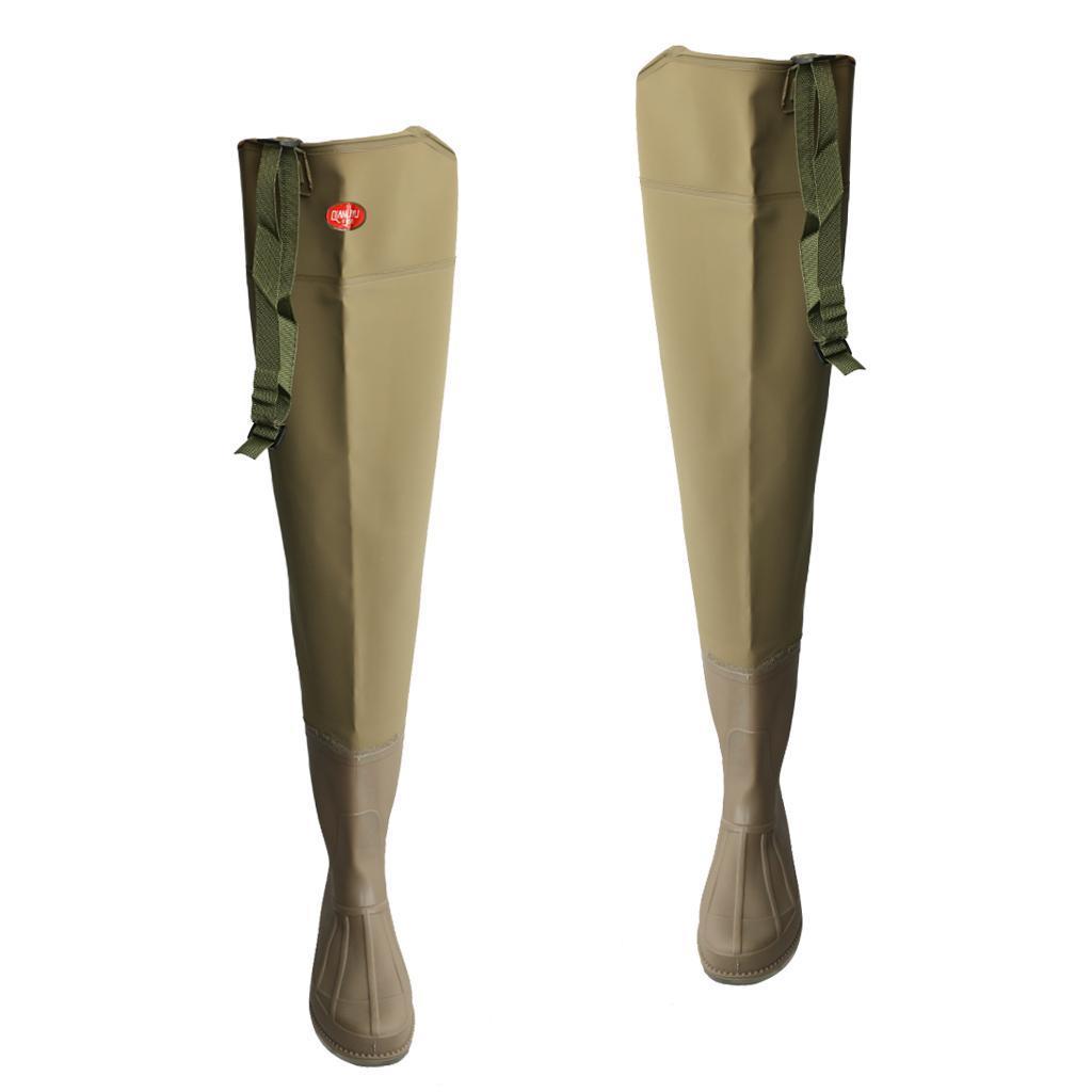 PVC-HIP-WADERS-SIZE-40-45-WATERPROOF-FLY-COARSE-FISHING-THIGH-BOOTS-Waders thumbnail 3