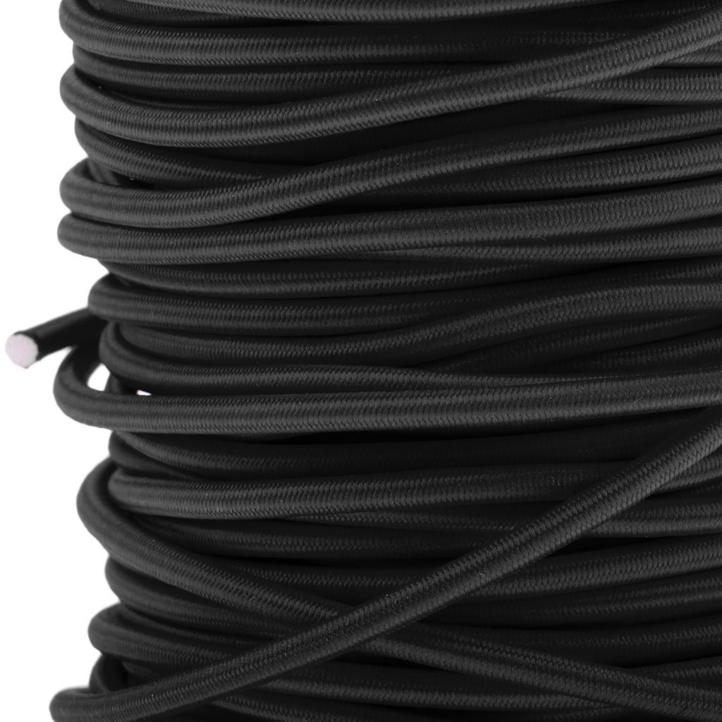Roof Racks 10mm 1m Black Elastic Bungee Rope Shock Cord Tie Down Trailers