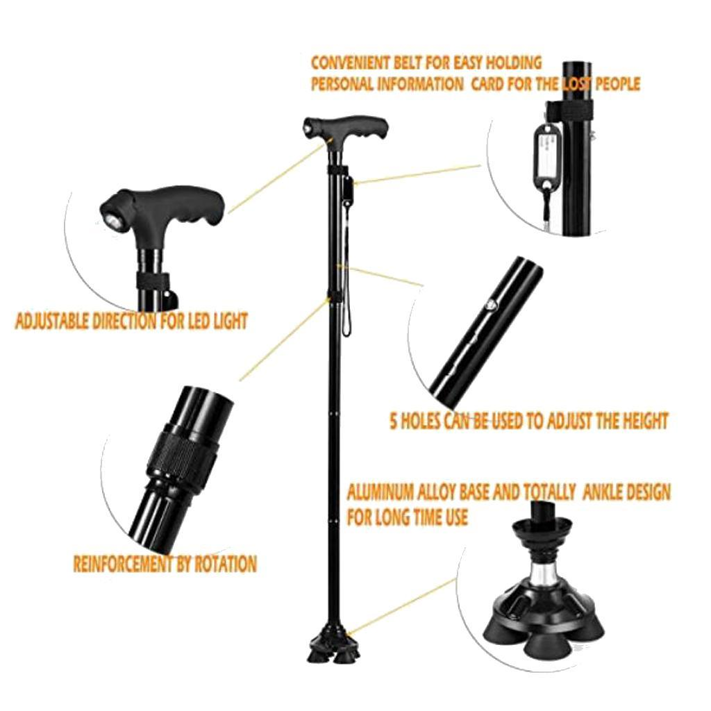 Nonslip-Mobility-Walking-Stick-with-light-Folding-Height-Adjustable-Metal-Cane thumbnail 3