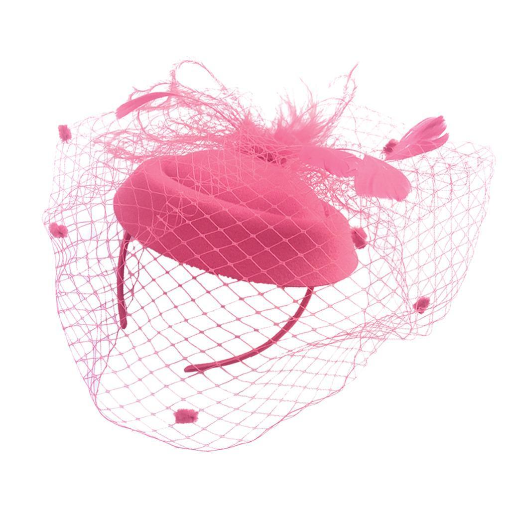 Women-039-s-Fascinator-Hat-Mesh-Veil-Feathers-Headband-Cocktail-Tea-Party-Hats thumbnail 3