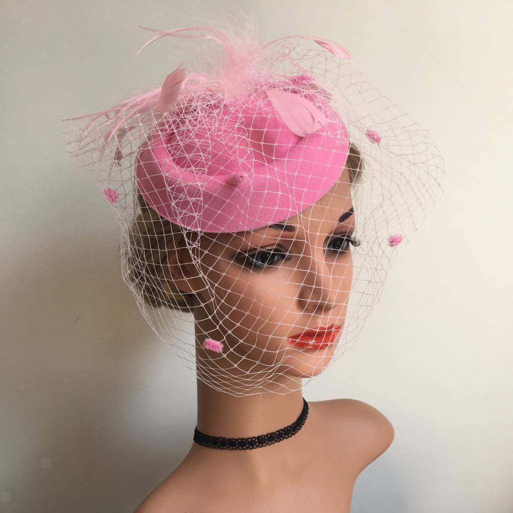 Women-039-s-Fascinator-Hat-Mesh-Veil-Feathers-Headband-Cocktail-Tea-Party-Hats thumbnail 4