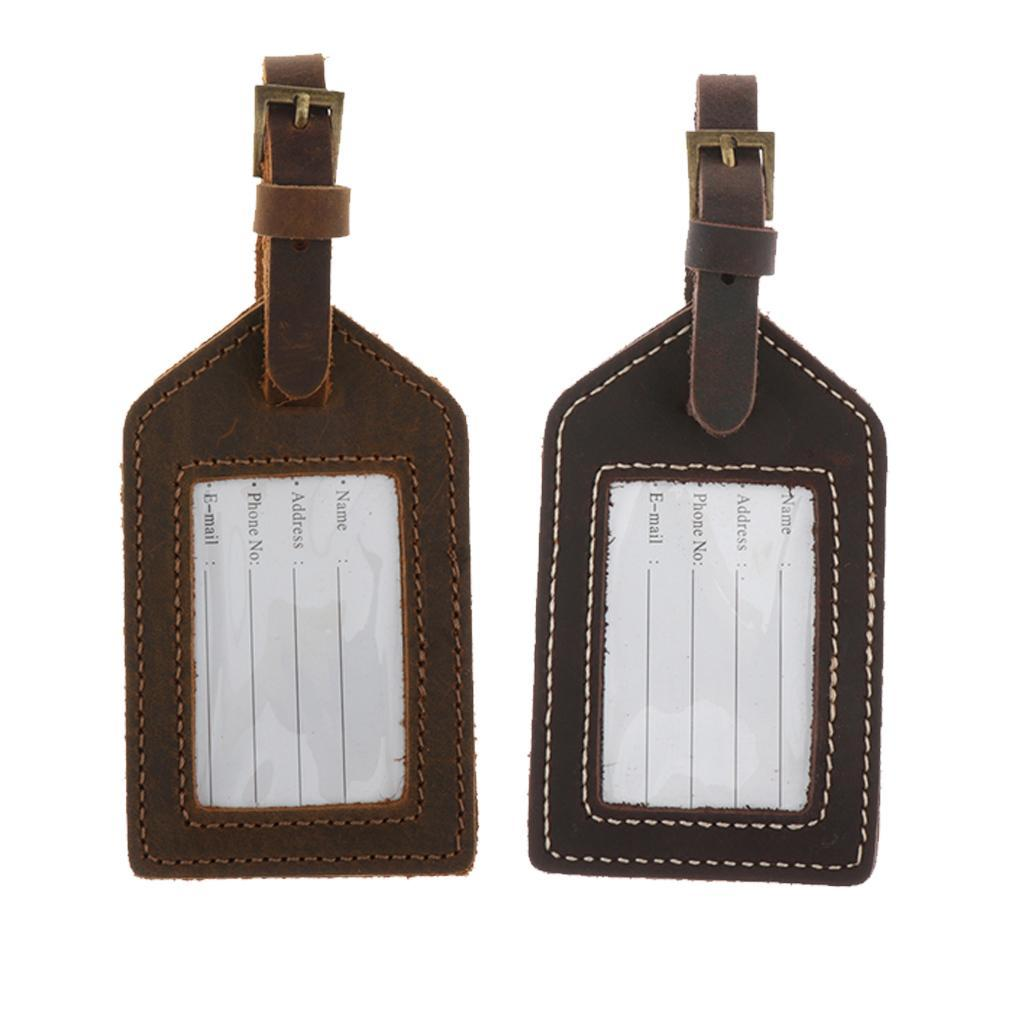 Leather-Luggage-Bag-Tags-Labels-Travel-ID-Bag-Tag-Airlines-Baggage-Labels thumbnail 3