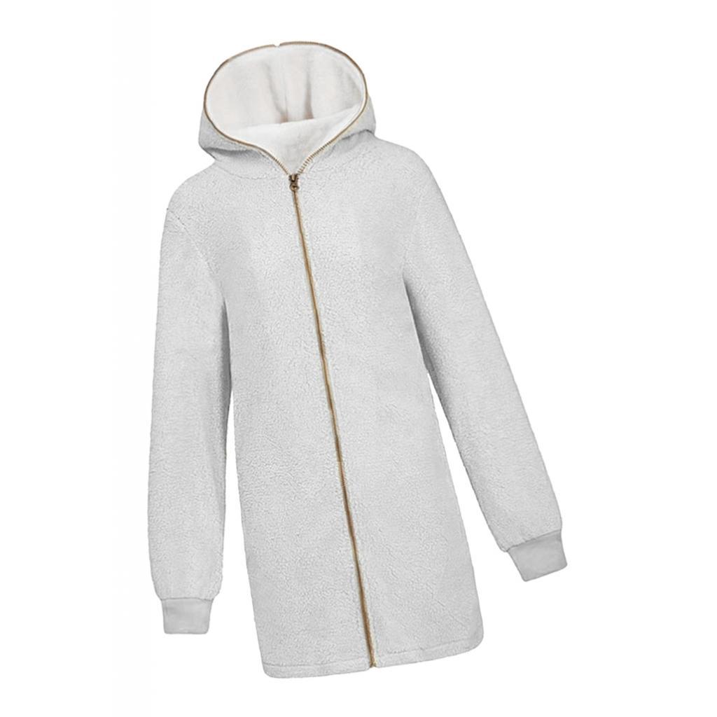 Womens Winter Warm Fluffy Fleece Long Coat Cardigans Hooded Zip UP Pocket Jacket