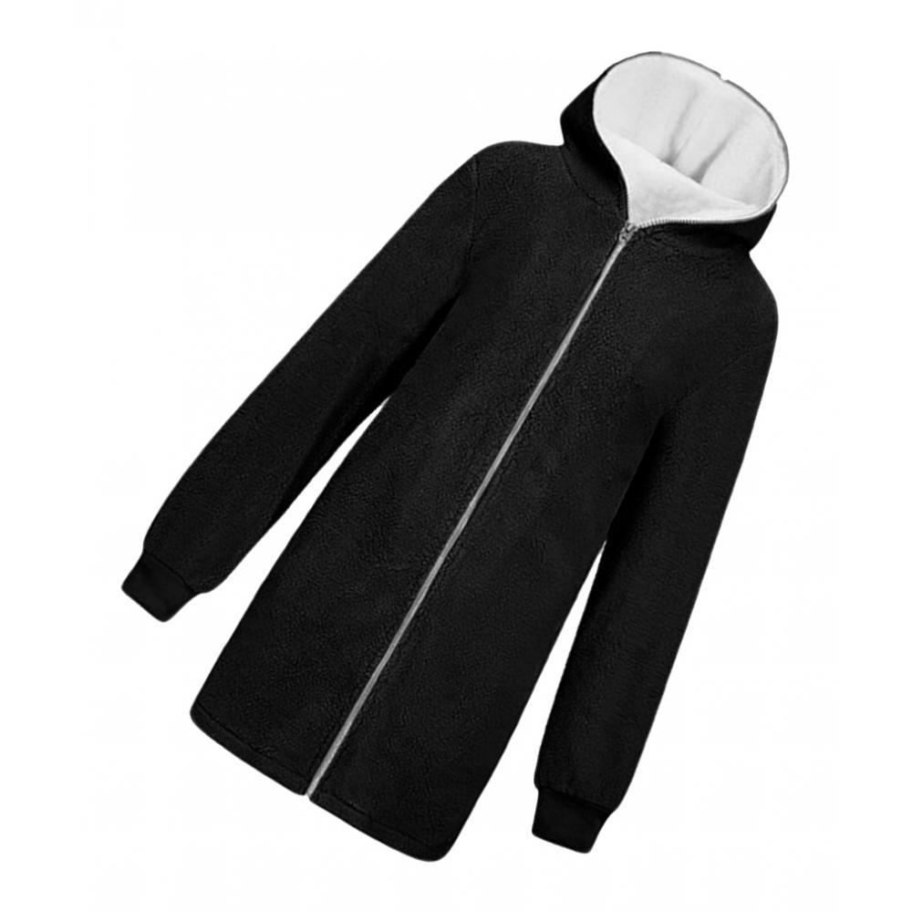 Details about Fluffy Coat Zipper Cardigans Warm Lamb Fur Jacket Hooded Outwear for Women