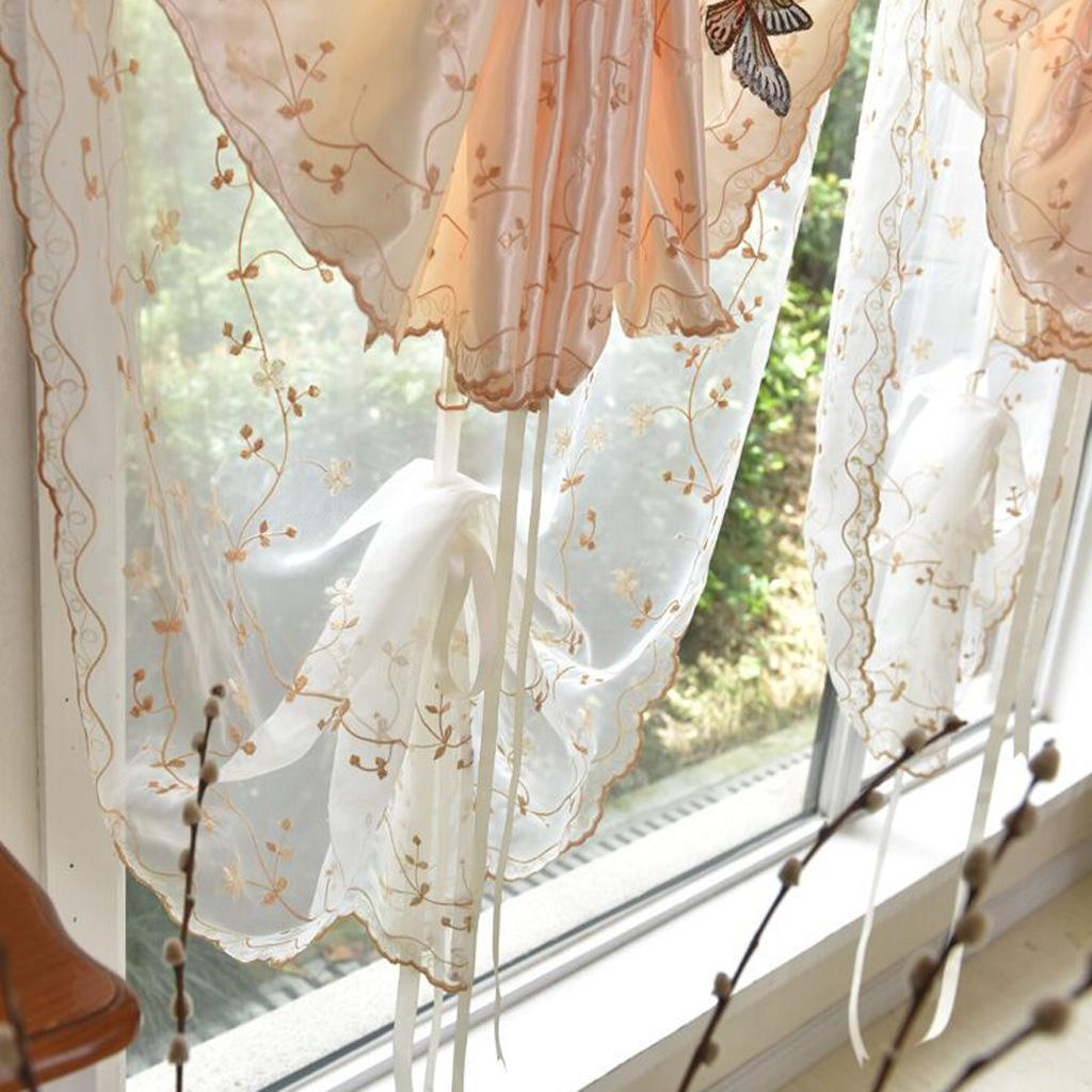 Butterfly Tulle Tie Up Roman Curtains Shades Balloon