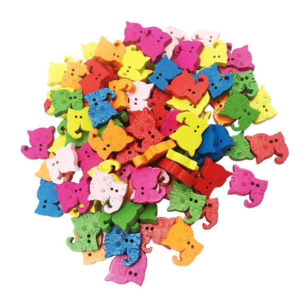 100Pcs-Mixed-Color-2-Holes-Wooden-Buttons-Sewing-Craft-Scrapbooking-DIY-Handmade thumbnail 13