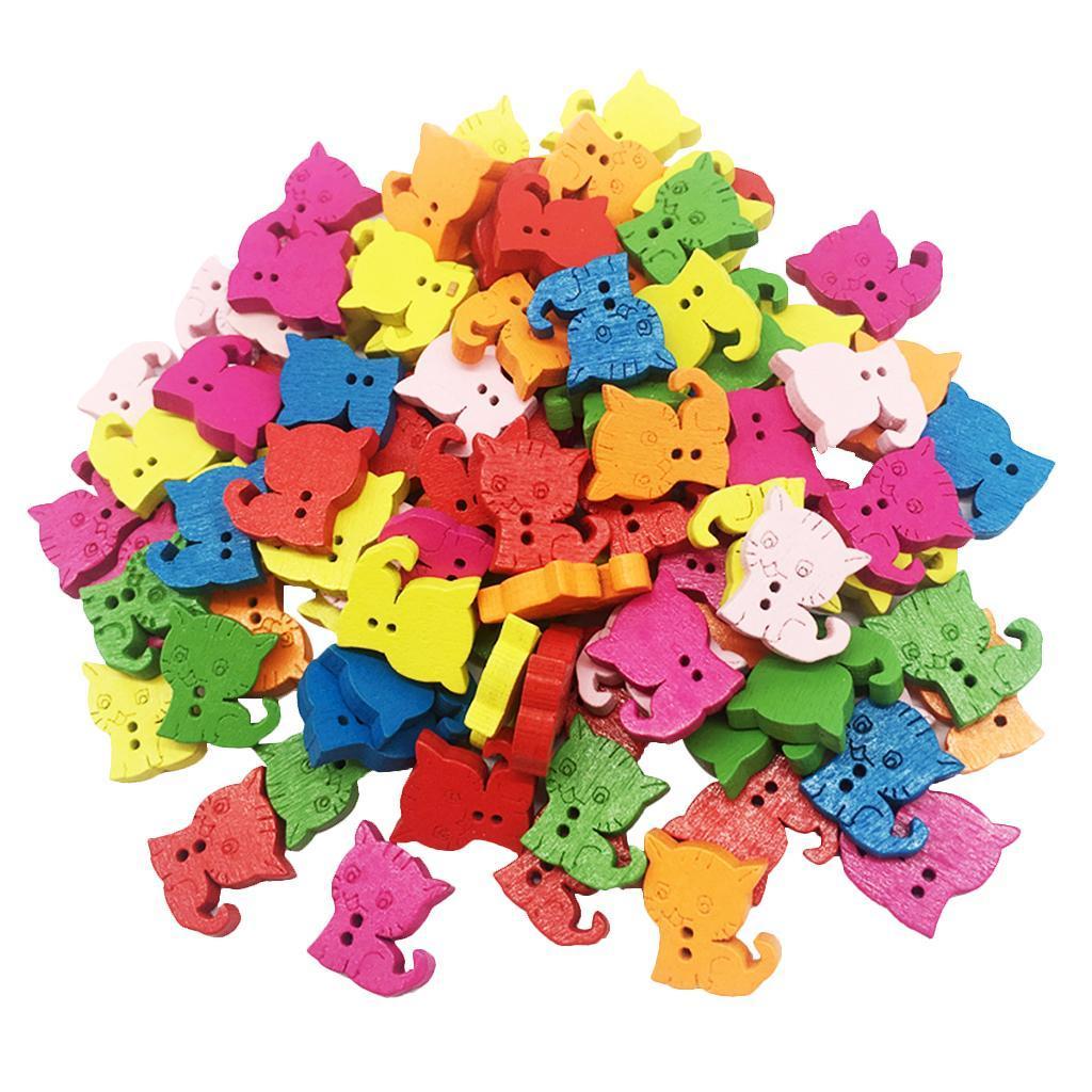 100Pcs Mini Cartoon Animals Wooden Buttons Handmade for Sewing Scrapbooking